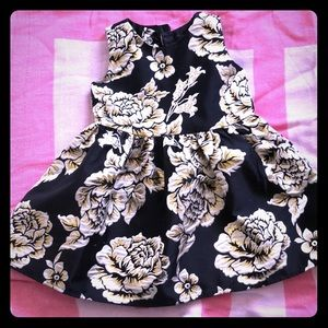 Toddler girl black floral dress